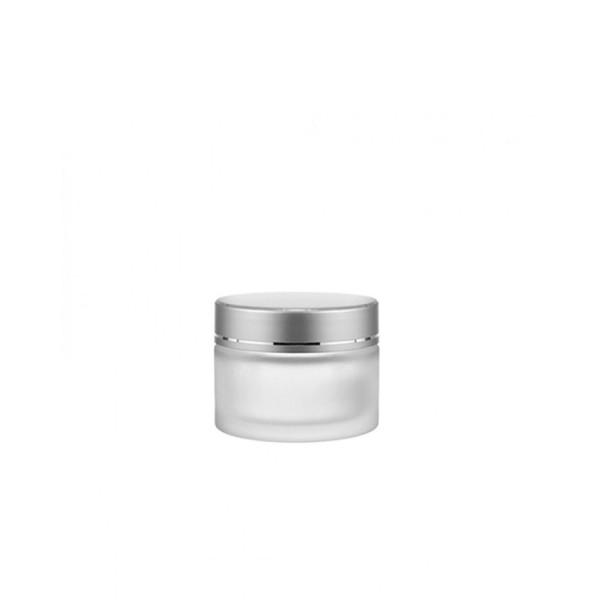 30 ML Kozmetik Buzlu Cam Krem Kavanozu Gümüş Kapak