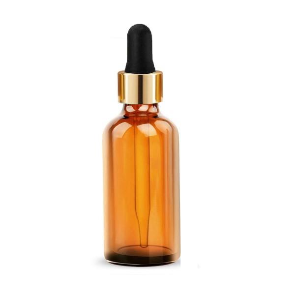 10 ML Amber Alkali Su Şişesi Boş Damlalıklı Dropper Şişe Cam Pipet Gold Kapak Siyah Lastik