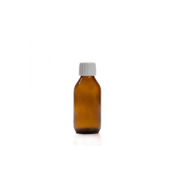 100 ML Amber Renkli Ecza Şişesi Beyaz Kapak