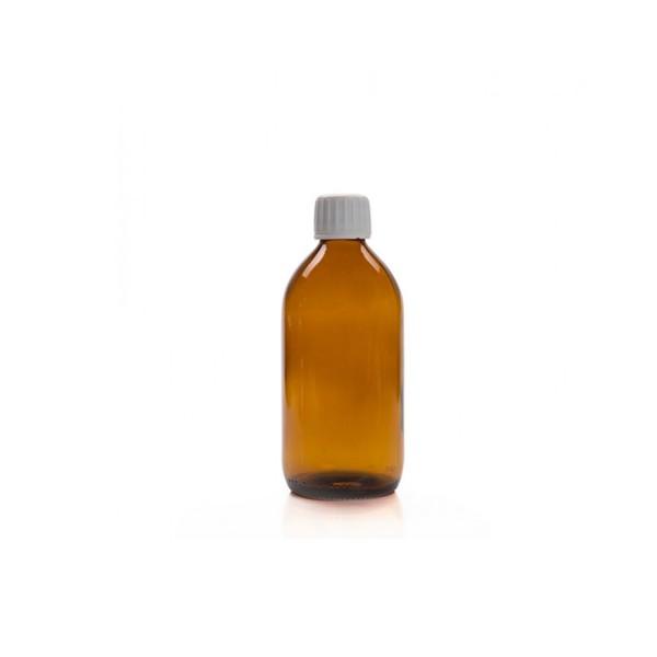200 ML Amber Renkli Ecza Şişesi Beyaz Kapak