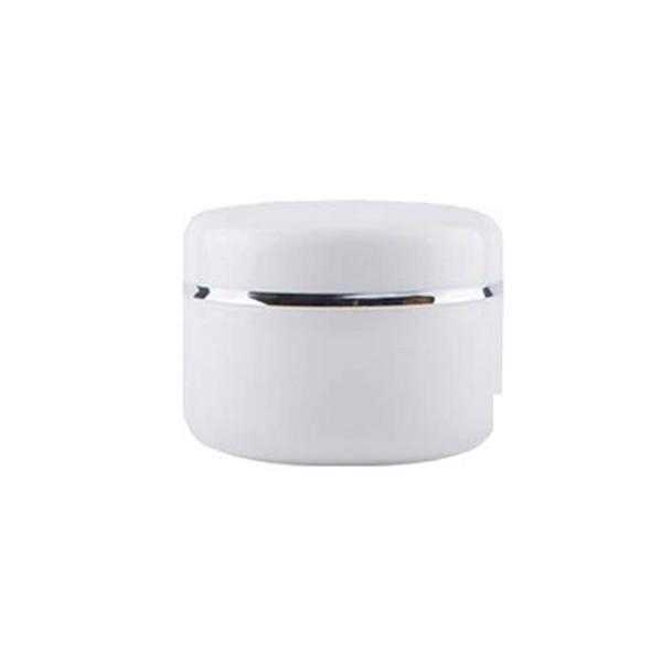 250 ML Beyaz Kozmetik Krem Kavanozu Beyaz Kapaklı Gümüş Şeritli