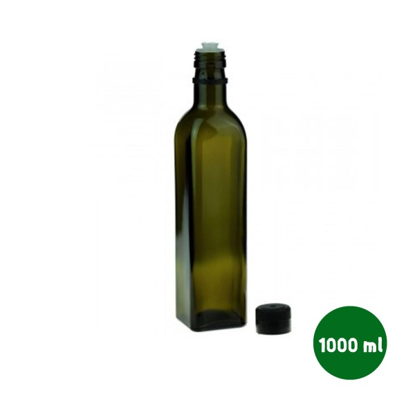 1000 ML Yeşil Kare Şişe